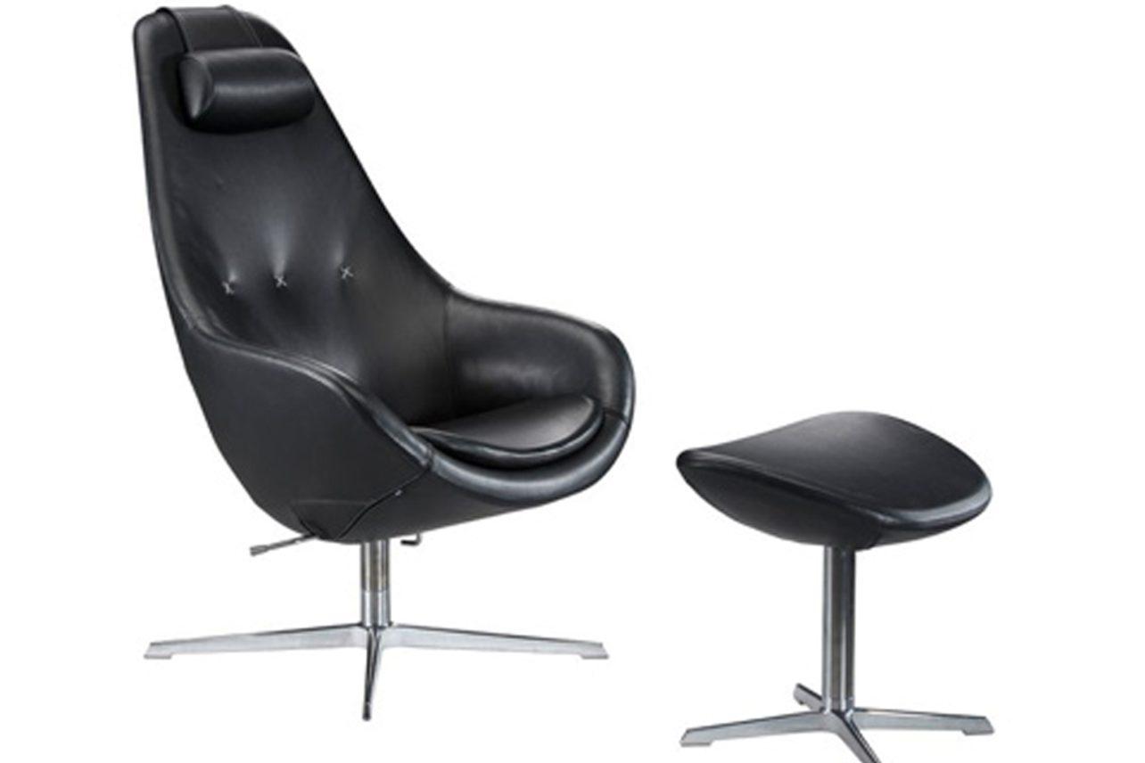 Relaxsessel Kokon in schwarzem Leder