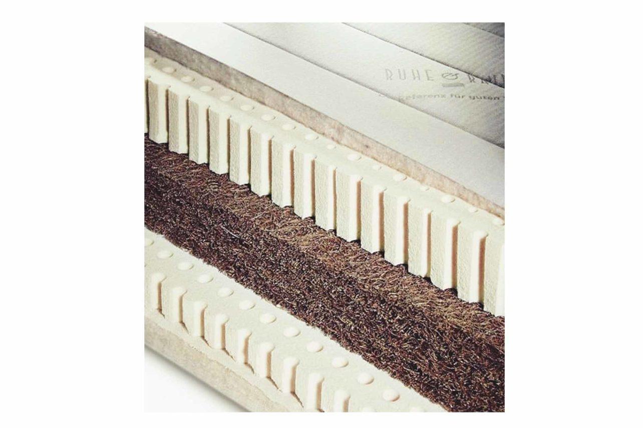 Naturlatexmatratze mit Mitellage aus festem latexiertem Kokos