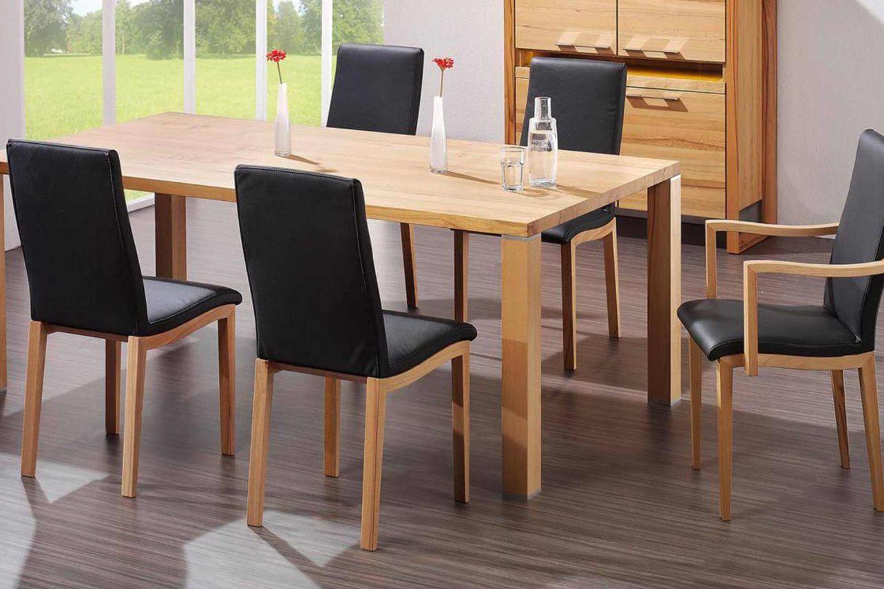 Zargenloser Tafeltisch mit Metallapplikationen in vielen Formen und Hölzern