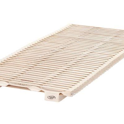 Federelement bestehend aus Latexstreifen aus 100 % Talalay Naturlatex, unbehandeltem Holz und Baumwolle aus kontrolliert biologischem Anbau