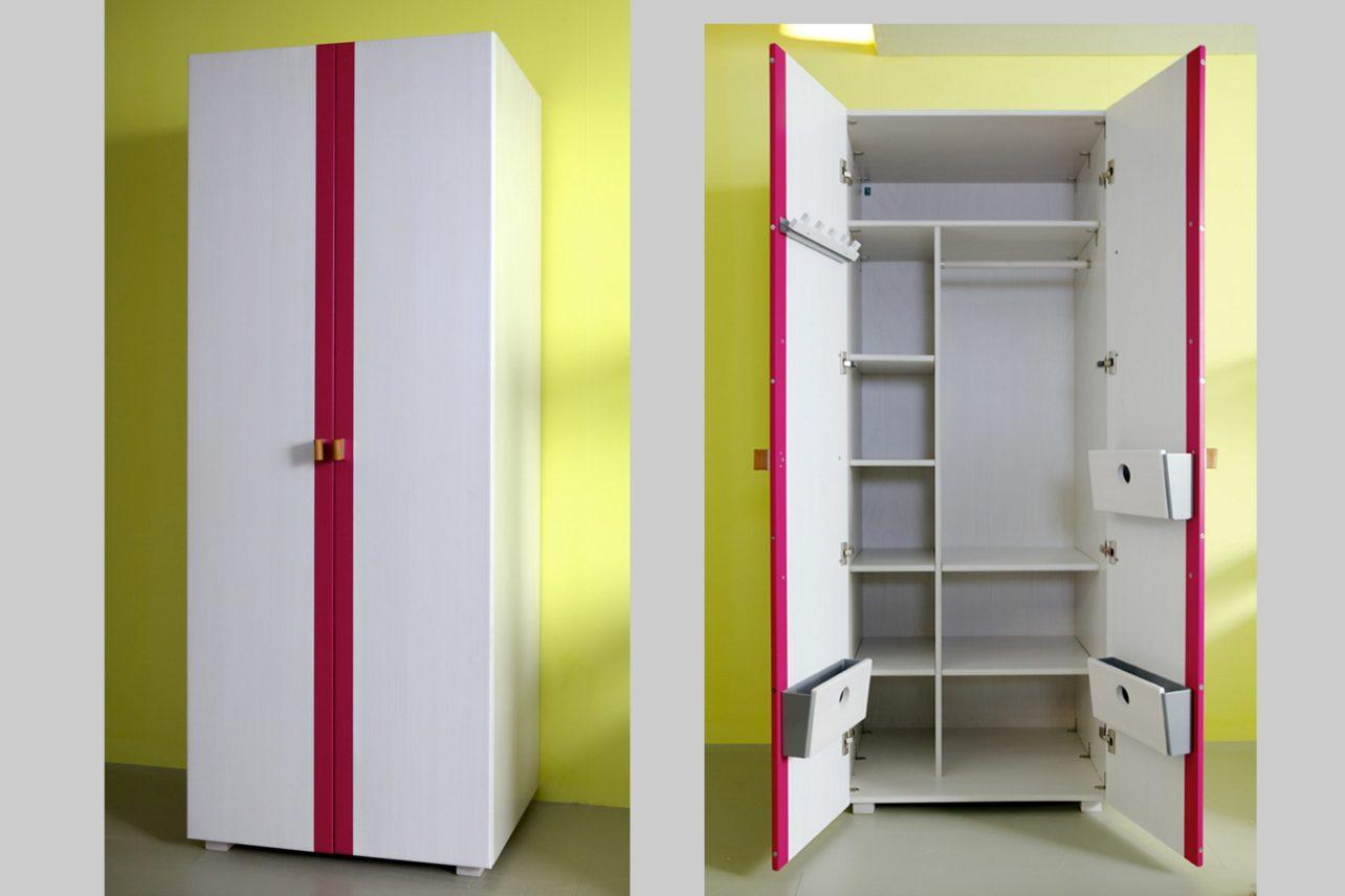 Kleiderschrank weiss Akzent pink