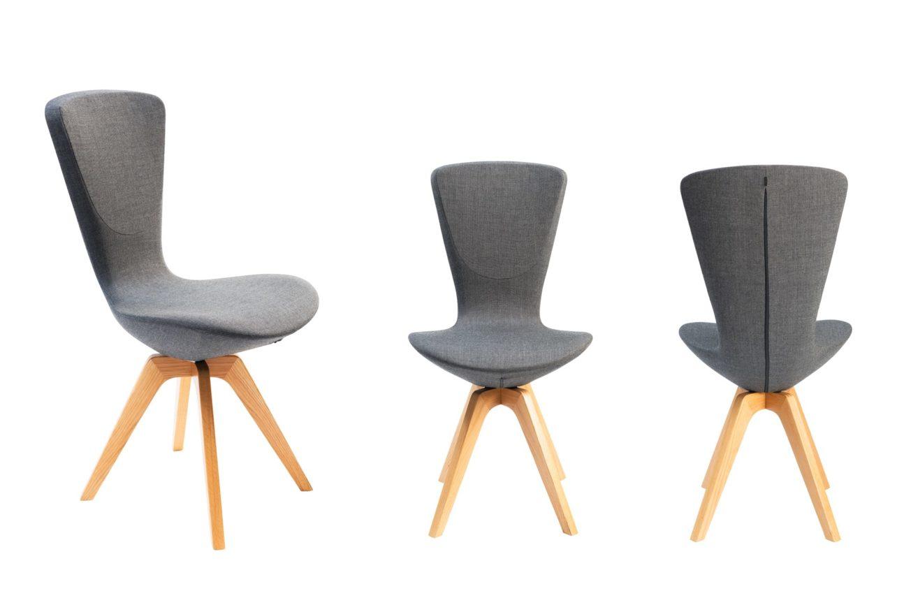 Aktives Sitzen auf den Esstischstühlen Invite mit Holzbeinen