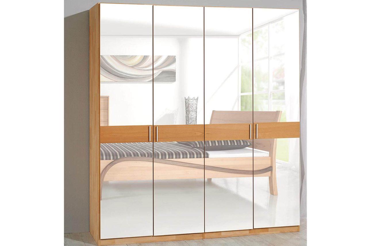 Kleiderschrank Kubus front Spiegel Holzstreifen