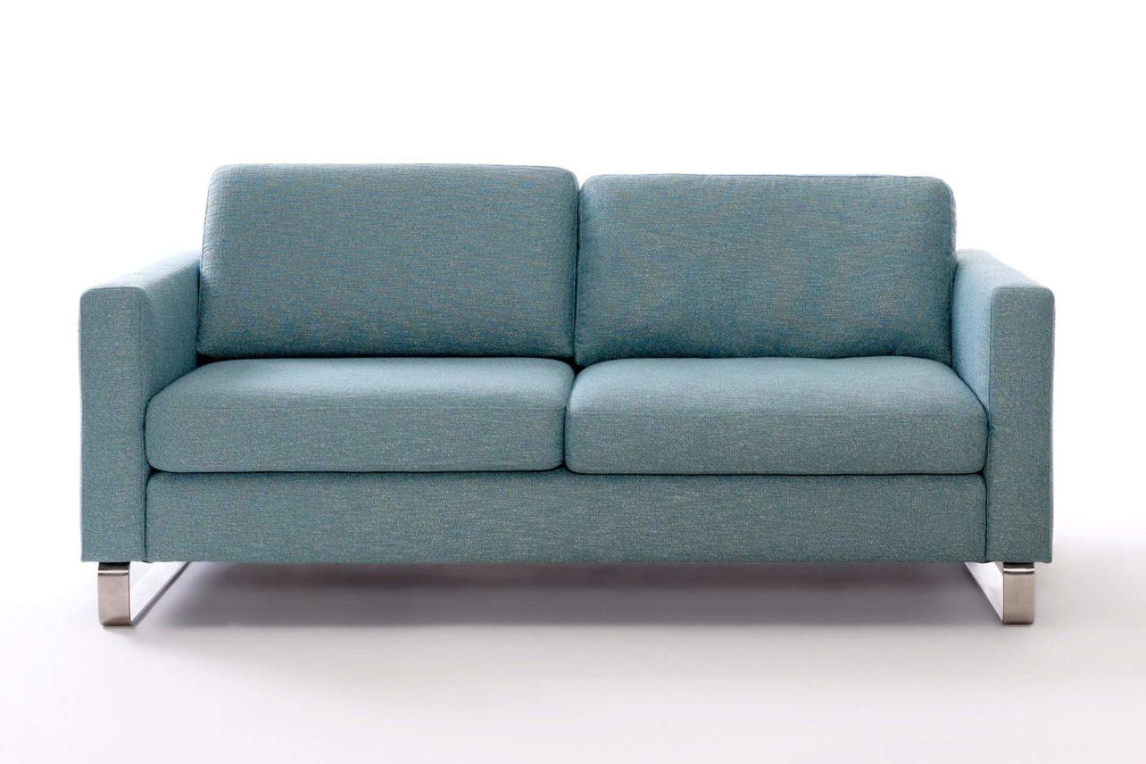 Türkisfarbenes Einzelsofa mit geteilter Sitzfläche und Edelstahlkufen