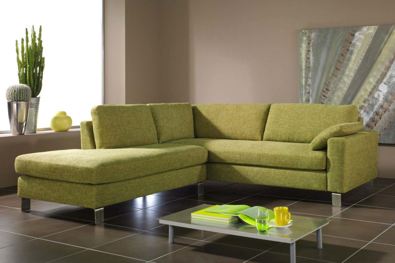 Grünes 3sitzer-Sofa Sirio mit Anstellsofa links