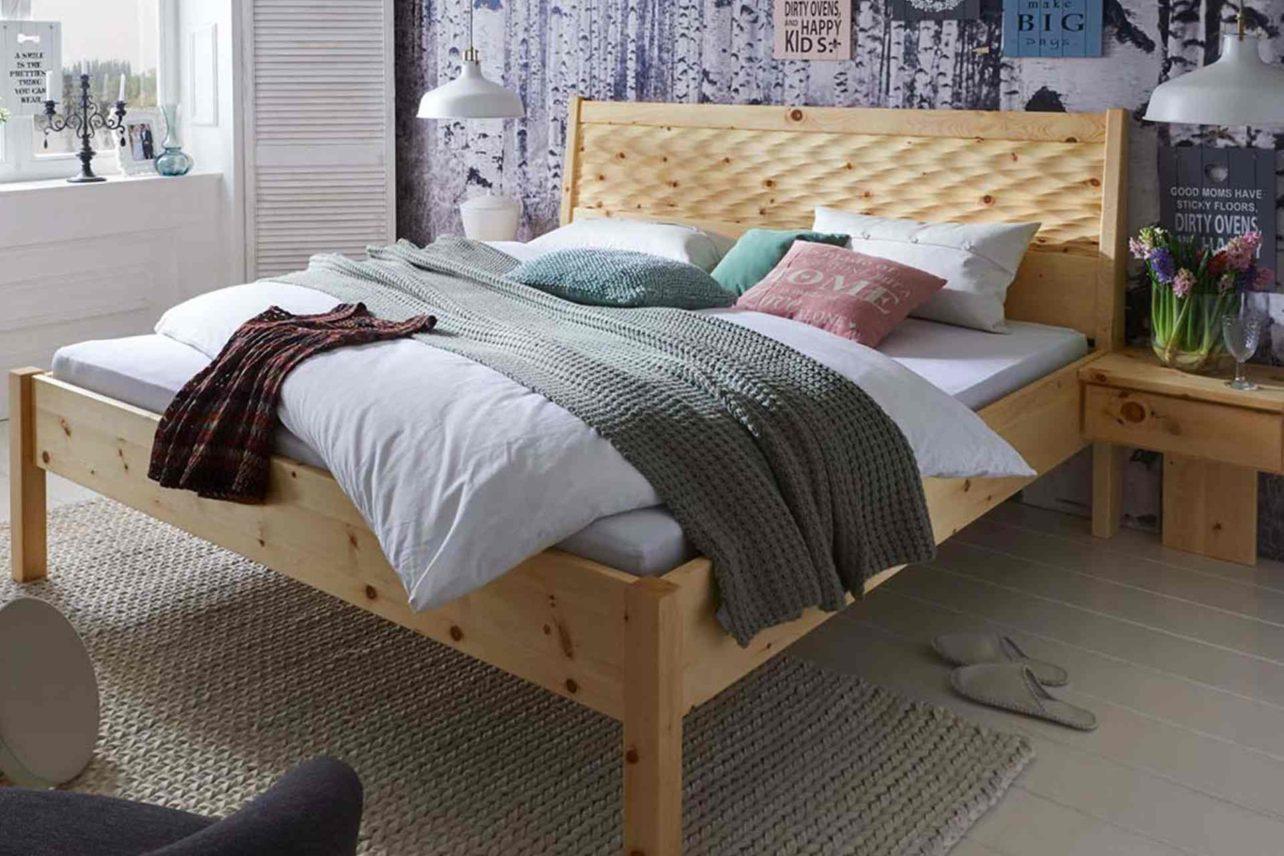Bett Donau aus massiver Zirbe und Bettwaren mit Zirbenflocken