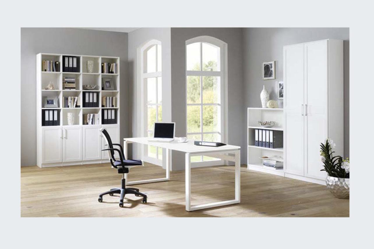 Schreibtisch Qubu weiss mit klarer Formensprache und vielen individuellen Möglichkeiten bei Hölzern und Maßen