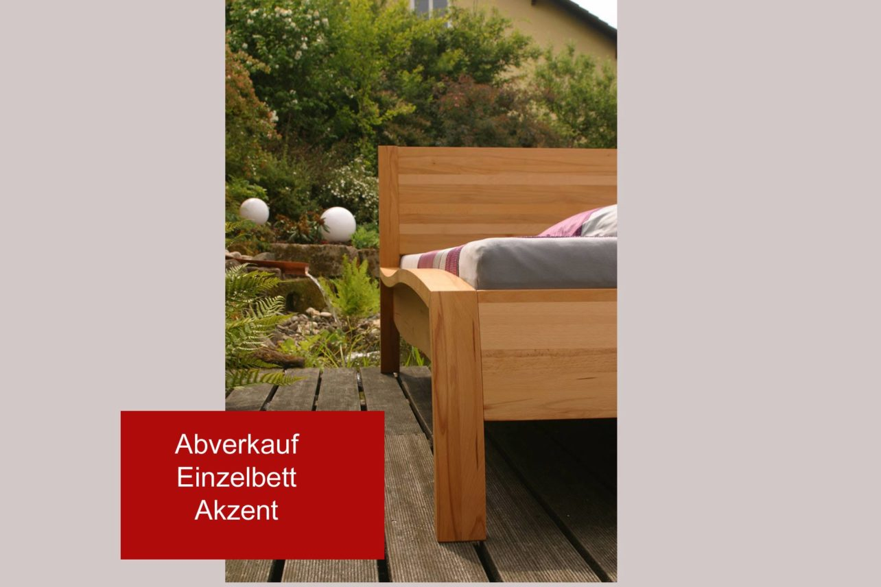 Abverkauf Einzelbett Akzent in 90 x 200cm, Buche geölt