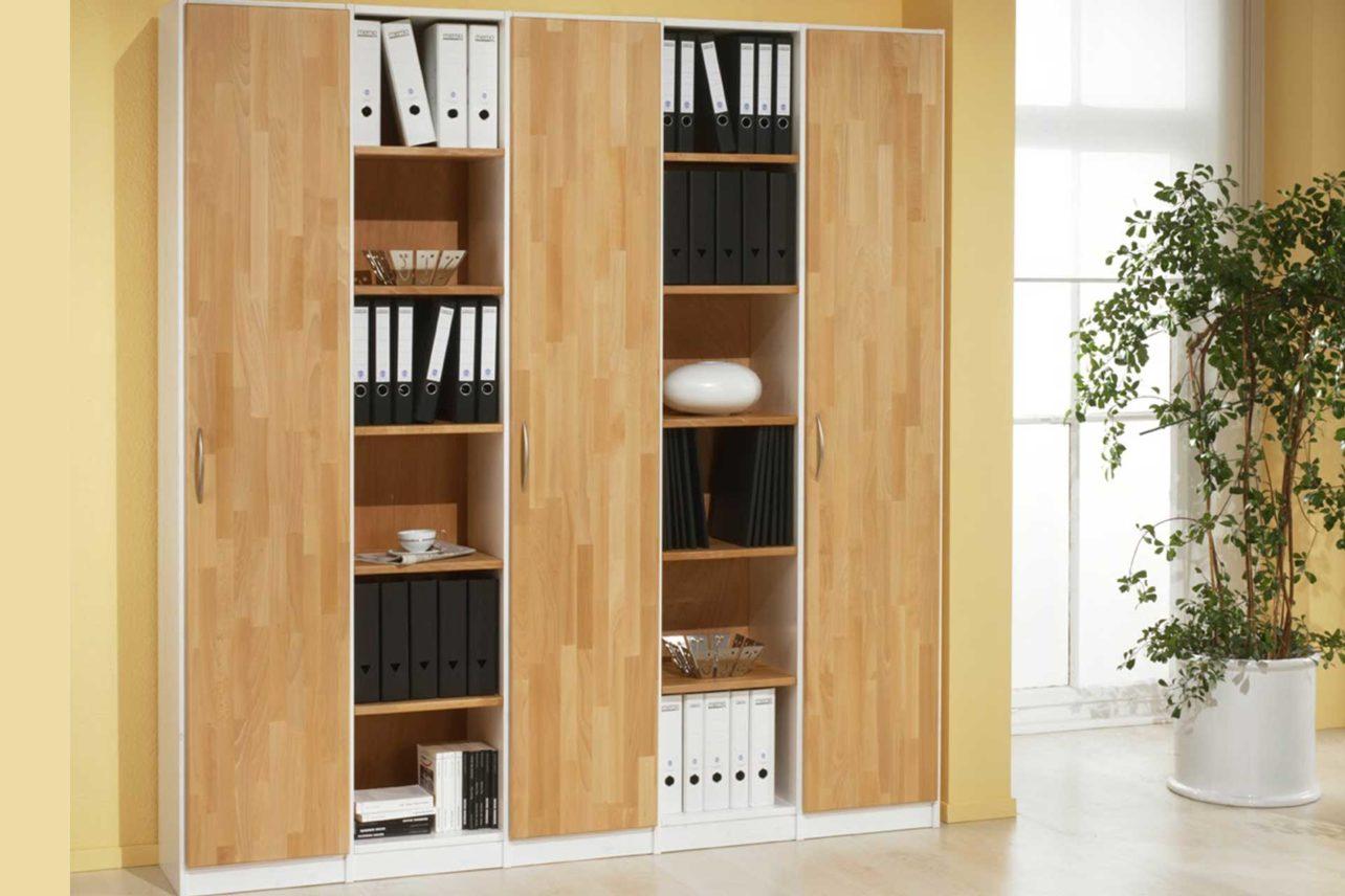 Büro-Regale-Schrank in massiver Buche geölt