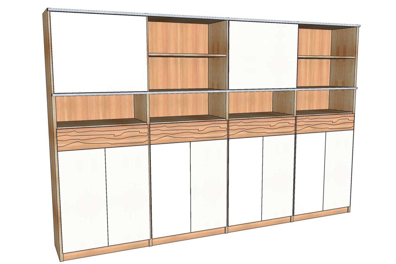 Planungsskizze Büroschrank mit Türen, Schüben und Regalelementen