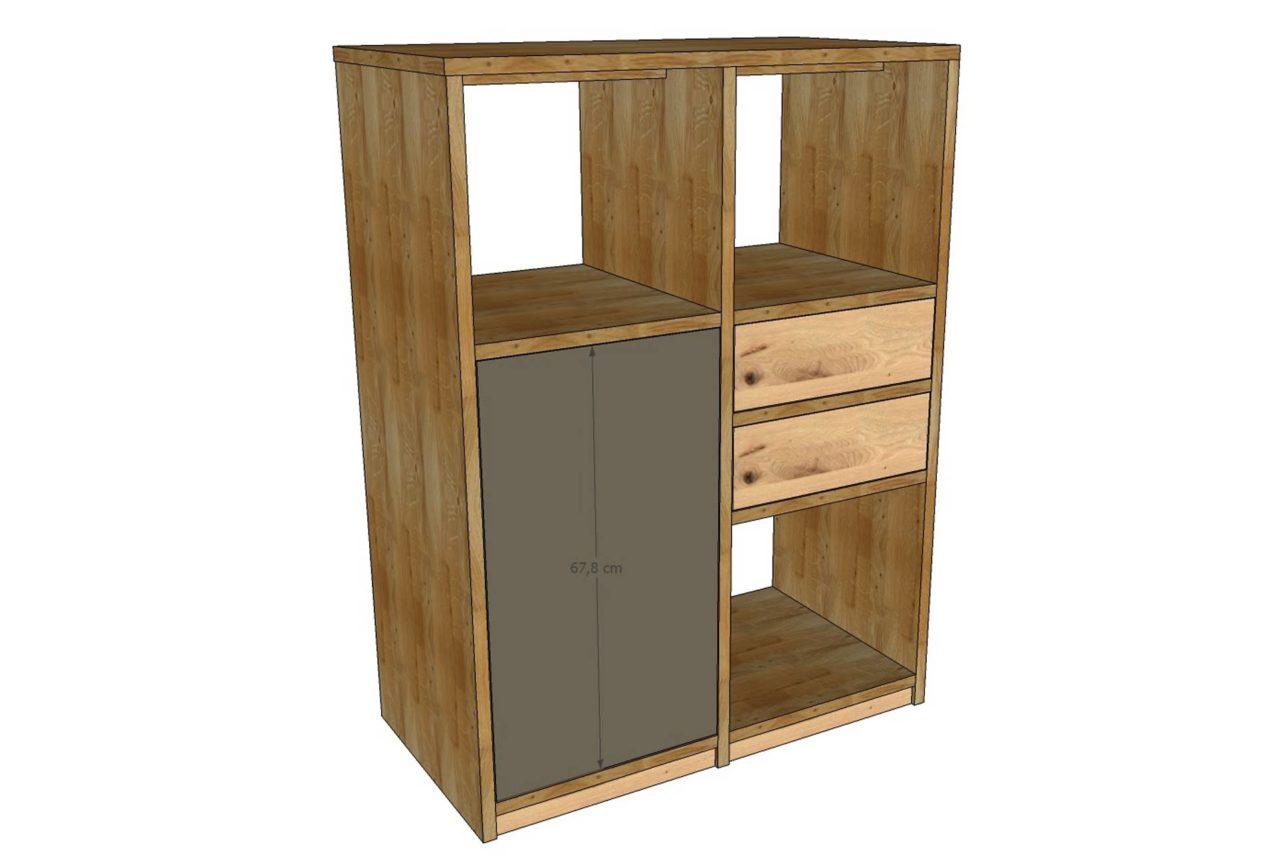 Planungsskizze Homeoffice-Schrank mit Tür, Schubladen und Regalfächern