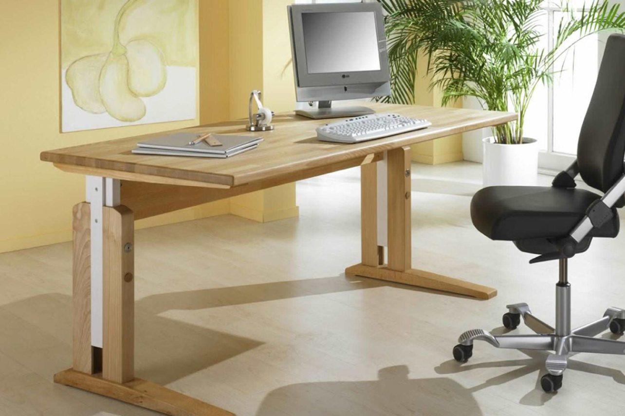 Vollholz-Schreibtisch mit C-Fuß-Untergestell