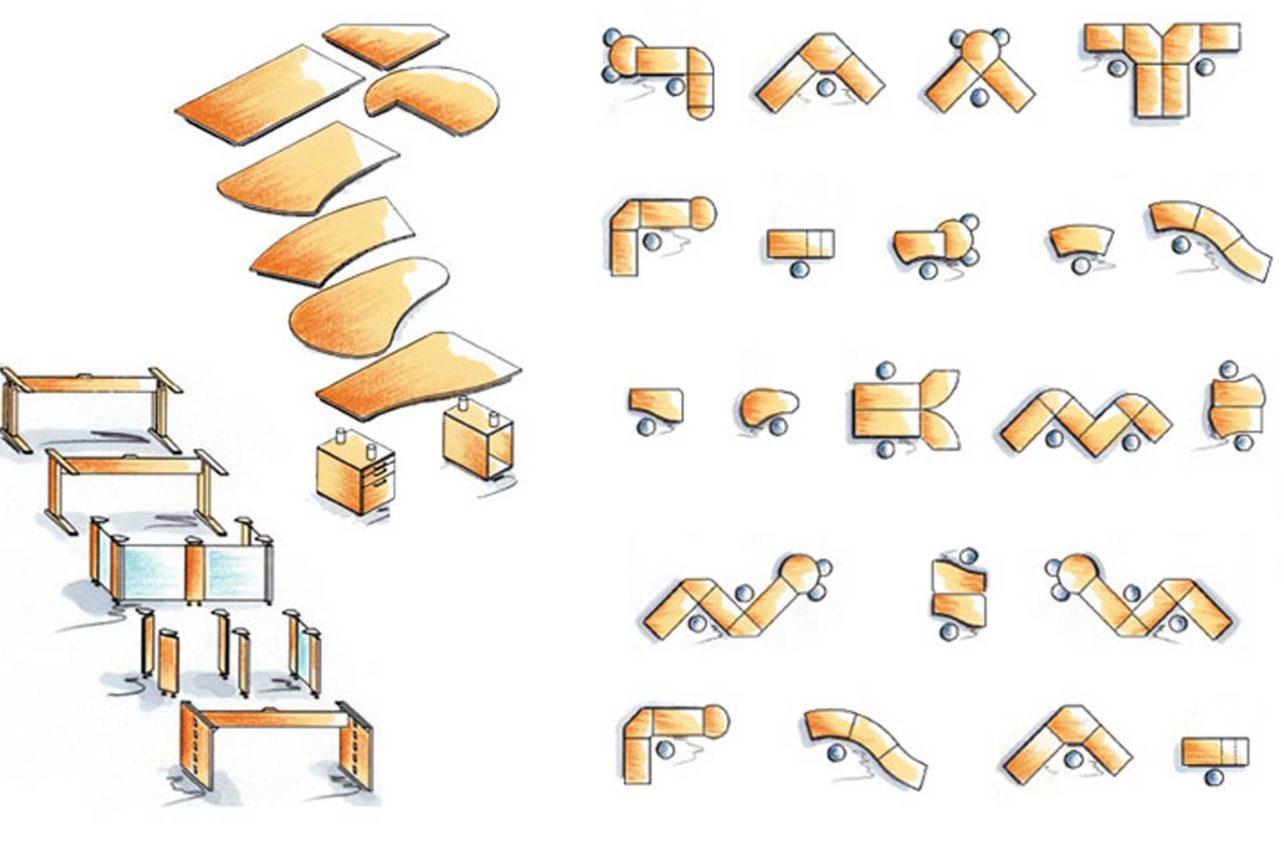 Schreibtischvarianten und Zusammenstellungen