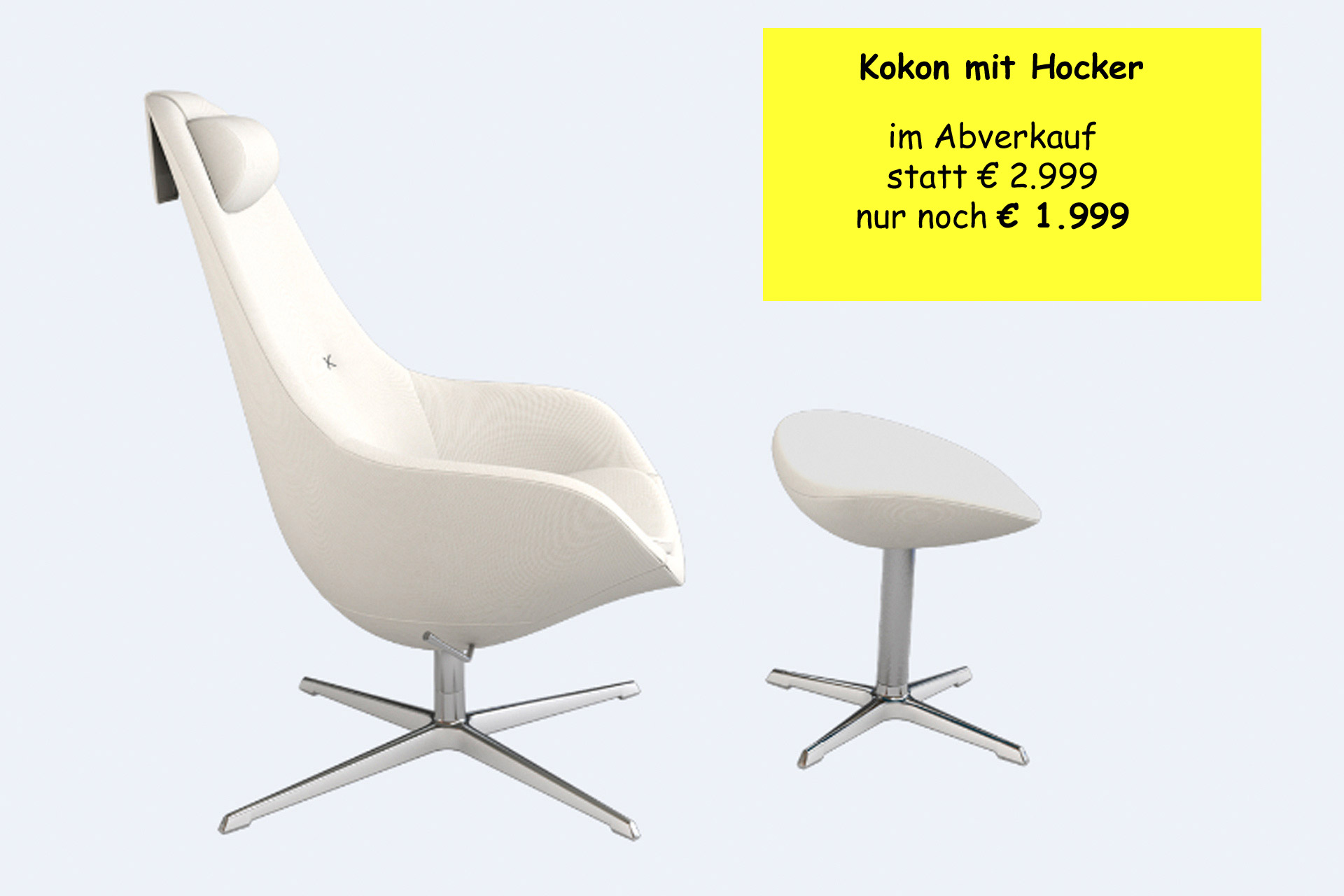 kokon mit hocker im abverkauf wohnopposition berlin. Black Bedroom Furniture Sets. Home Design Ideas