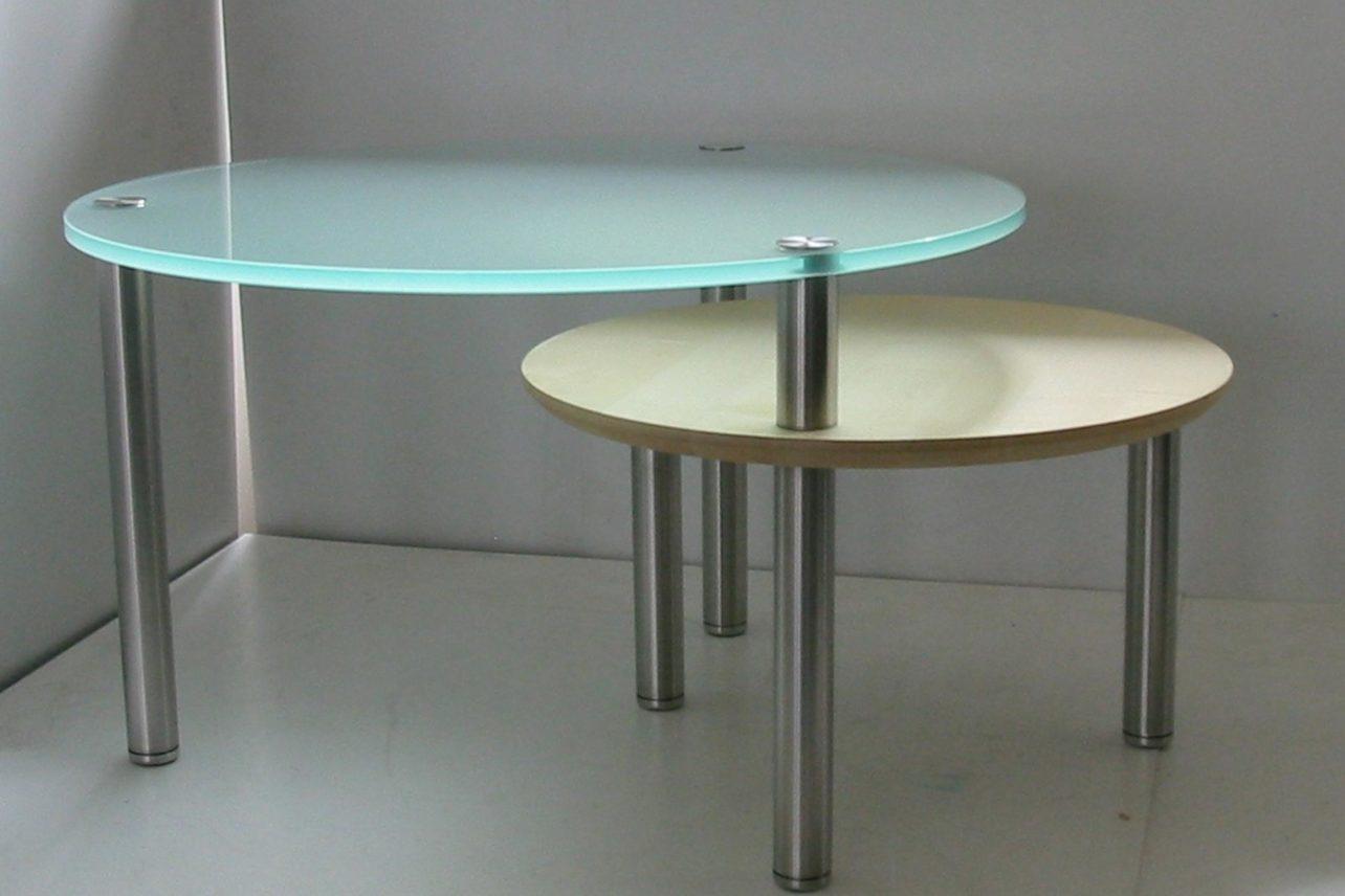 Couchtische Circulo mit Ahorn- und Glasplatten