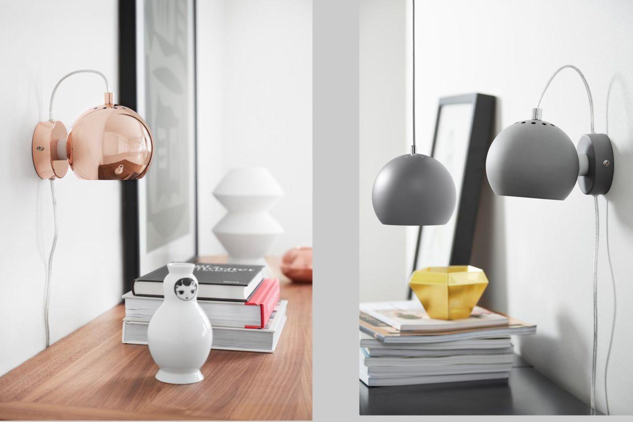 Wandleuchten ball mit magnetischer Befestigung. In vielen farben und Materialien erhältlich