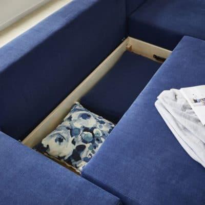 Bettkasten zu Schlafsofa Neo in Blau.