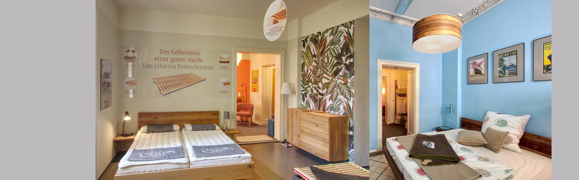 Ausstellungsbetten im Hüsler Nest Studio