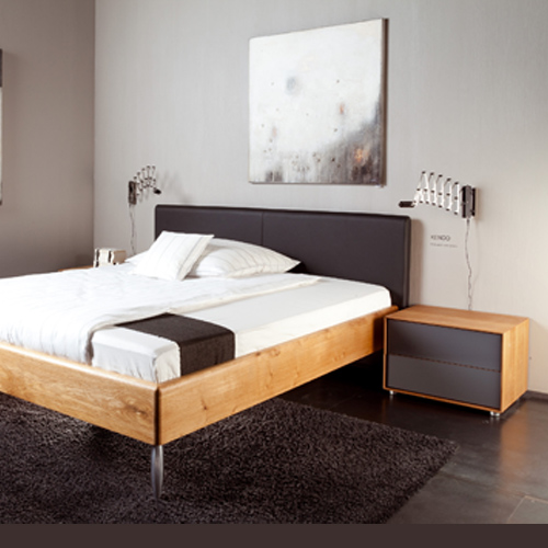 Nachttisch Sete zum Bett Kendo mit Lederkopfteil