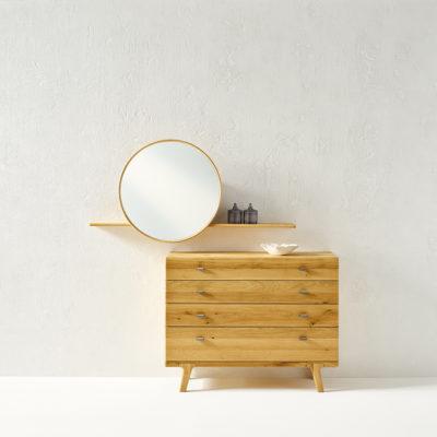 Kommode Sol in Asteiche gebürstet, natur geölt, rundes Spiegelpanel mit Bord